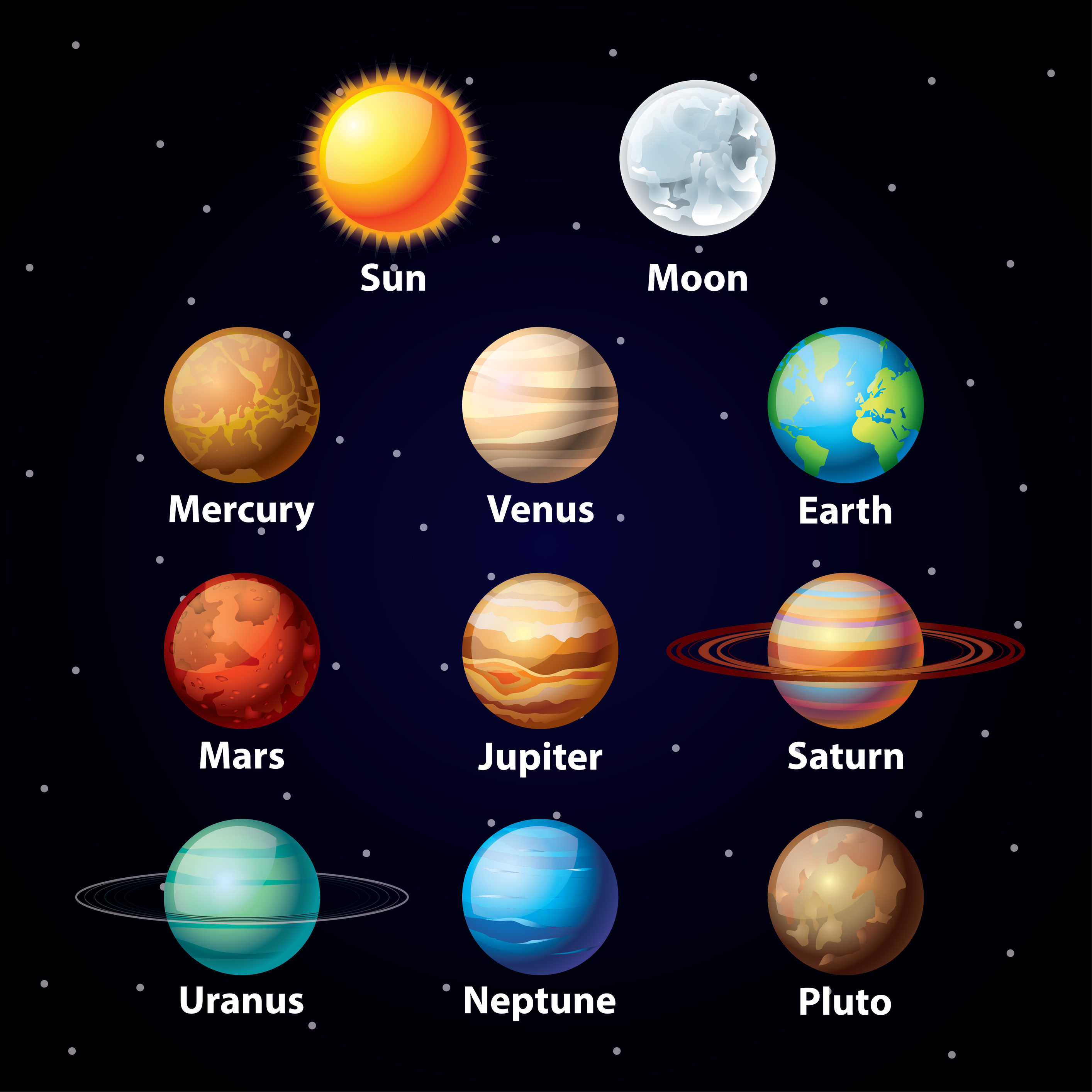 8 Planets Clipart