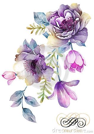 Antique Water Coler Purple Flower Clipart Clipground