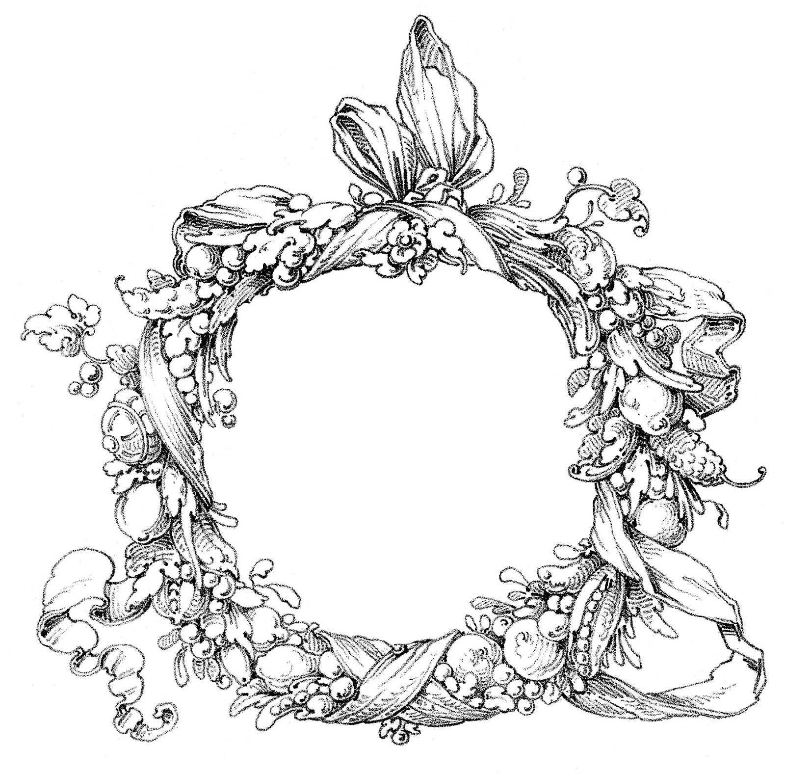 Autumn Wreath Black And White Clipart 20 Free Cliparts
