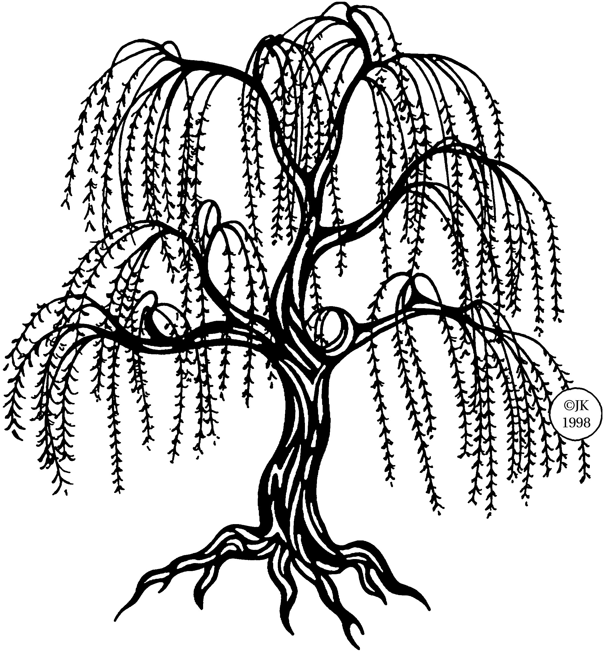 Black And White Willow Tree And A Fox Clipart