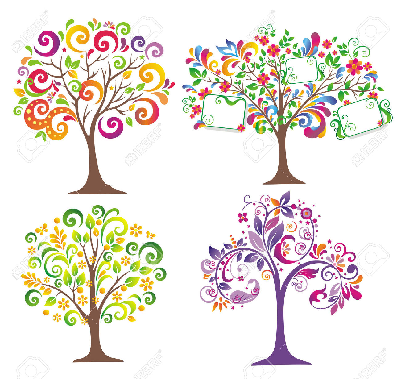 Beautiful Clip Flowers Art Fruit Tree And