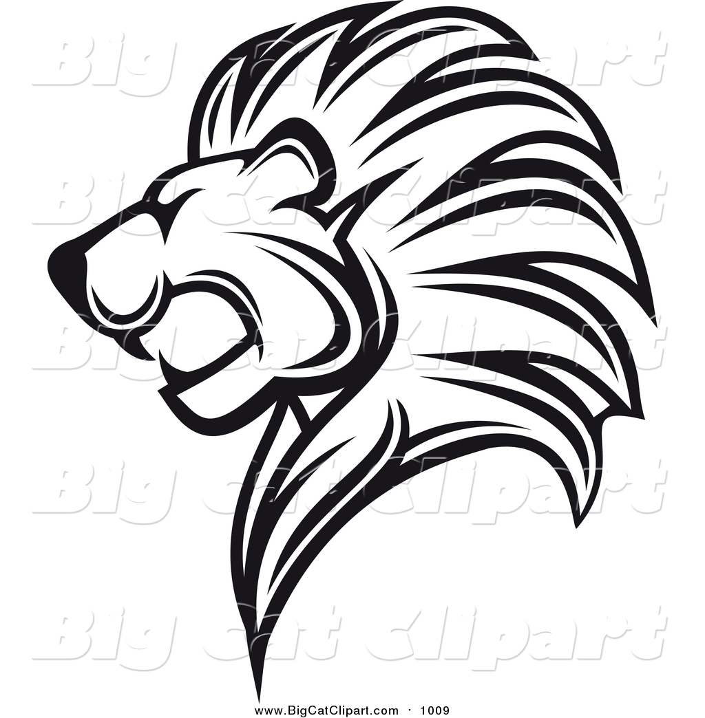 Lion Head Black And White Clipart