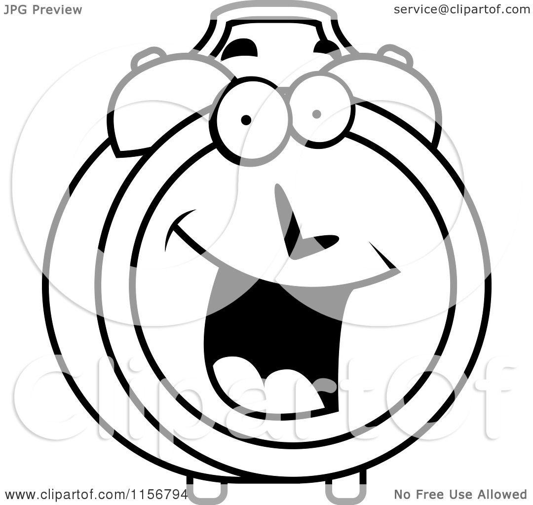 Black And White Alarm Clock Clipart