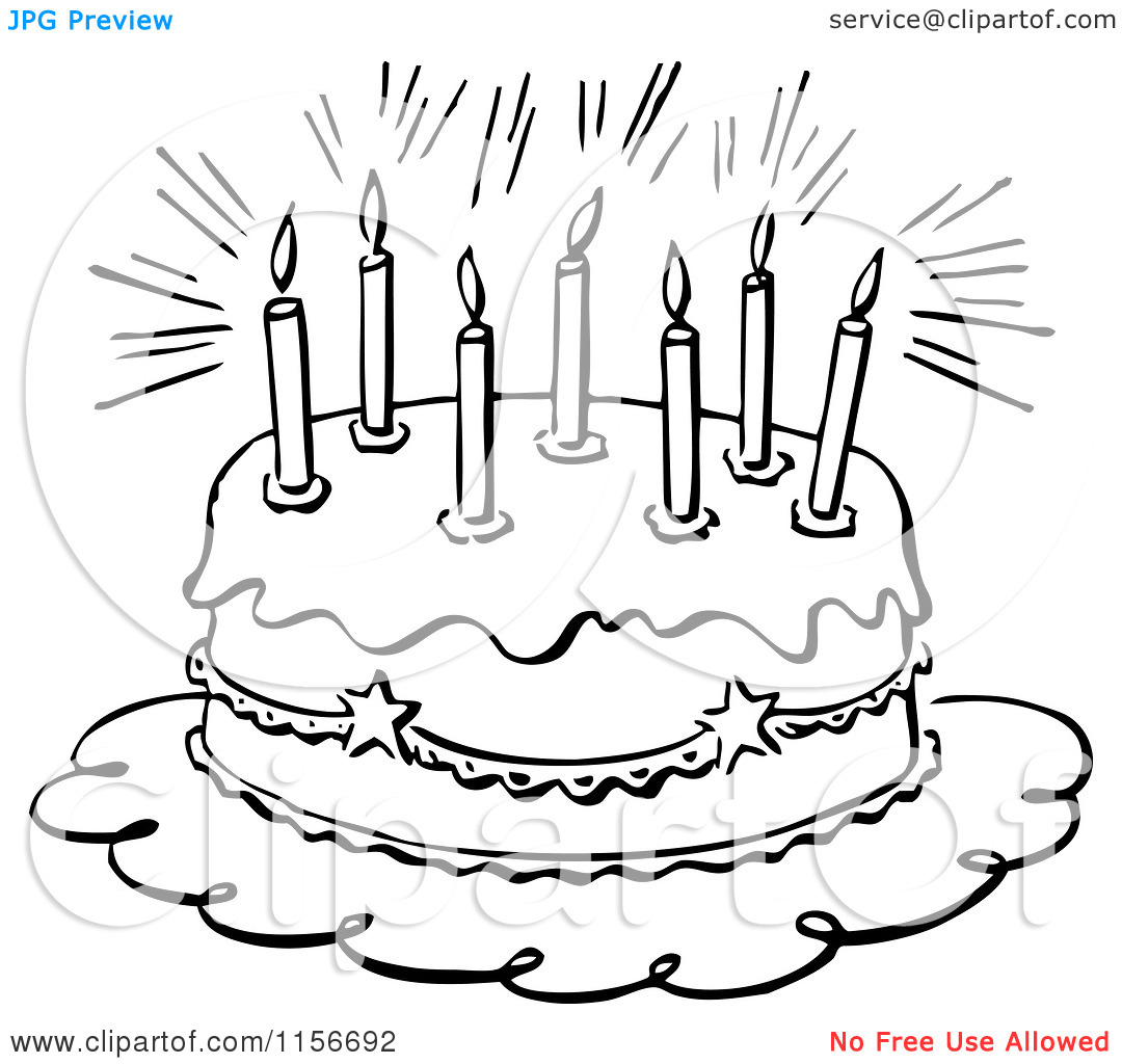 Clipart Birthday Cake Black And White