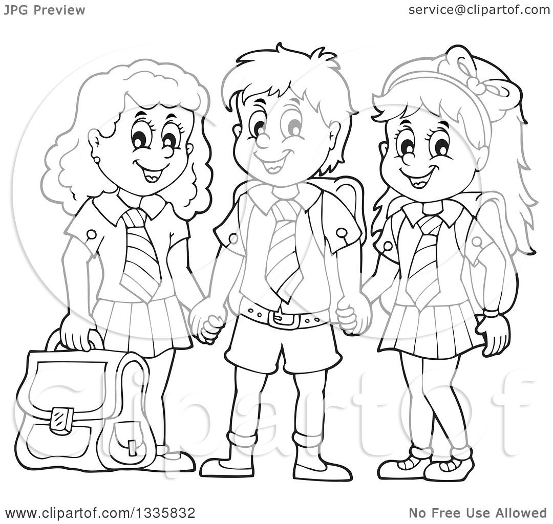 Black And White Clipart Of School Children 20 Free