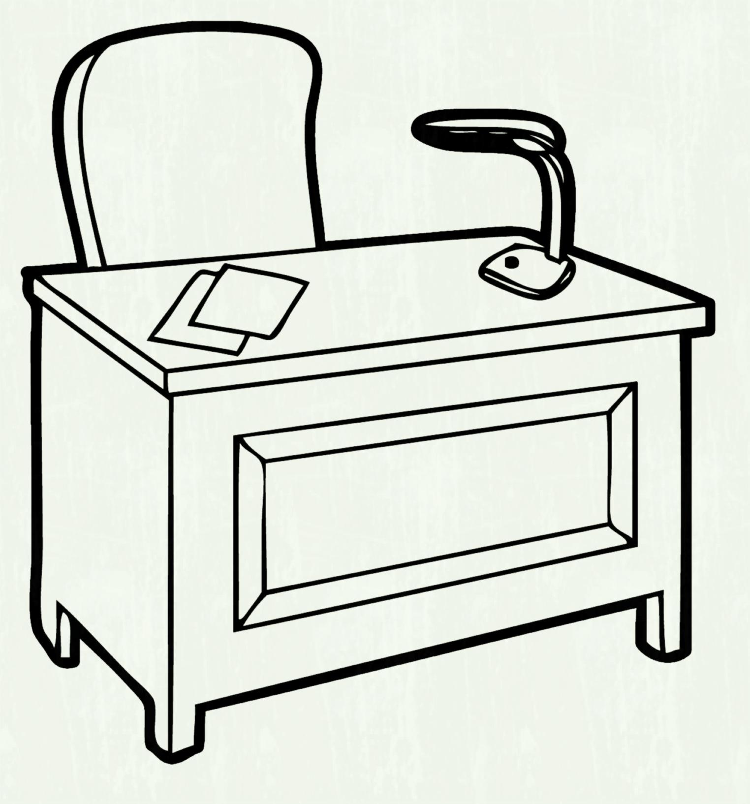 Office Desk Clipart Black And White 10 Free Cliparts