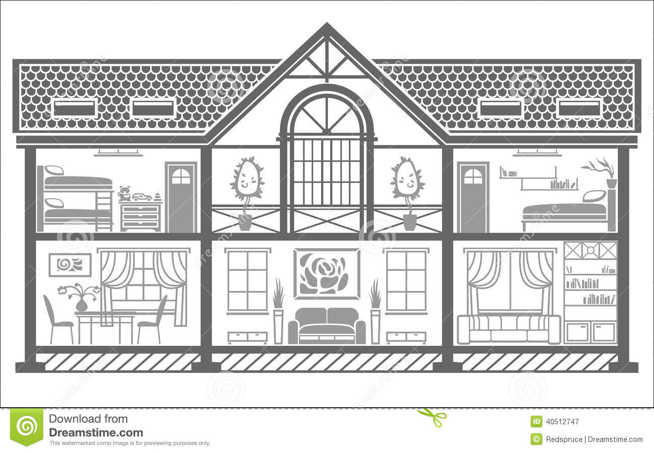 Black And White Image Of House Interior Clipart