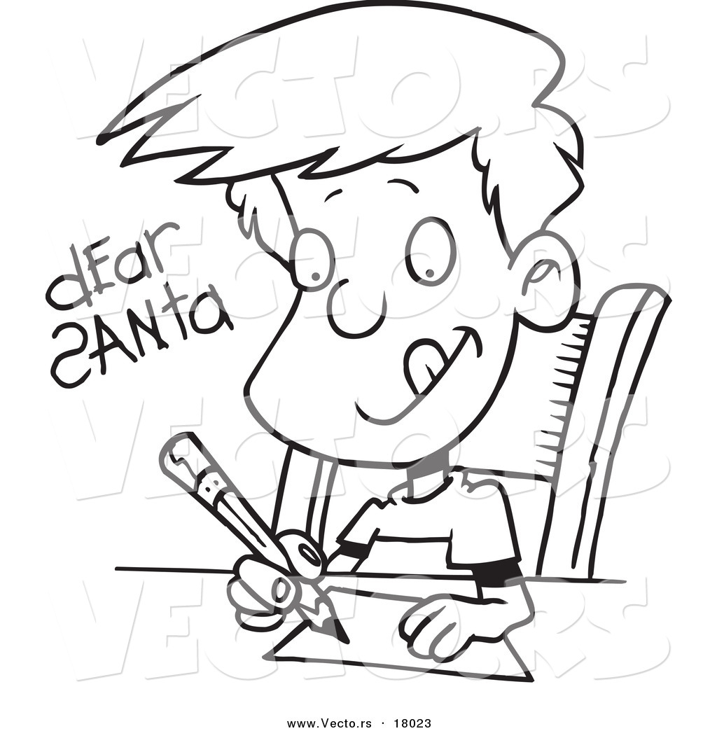 Boy Writing Clipart Black And White
