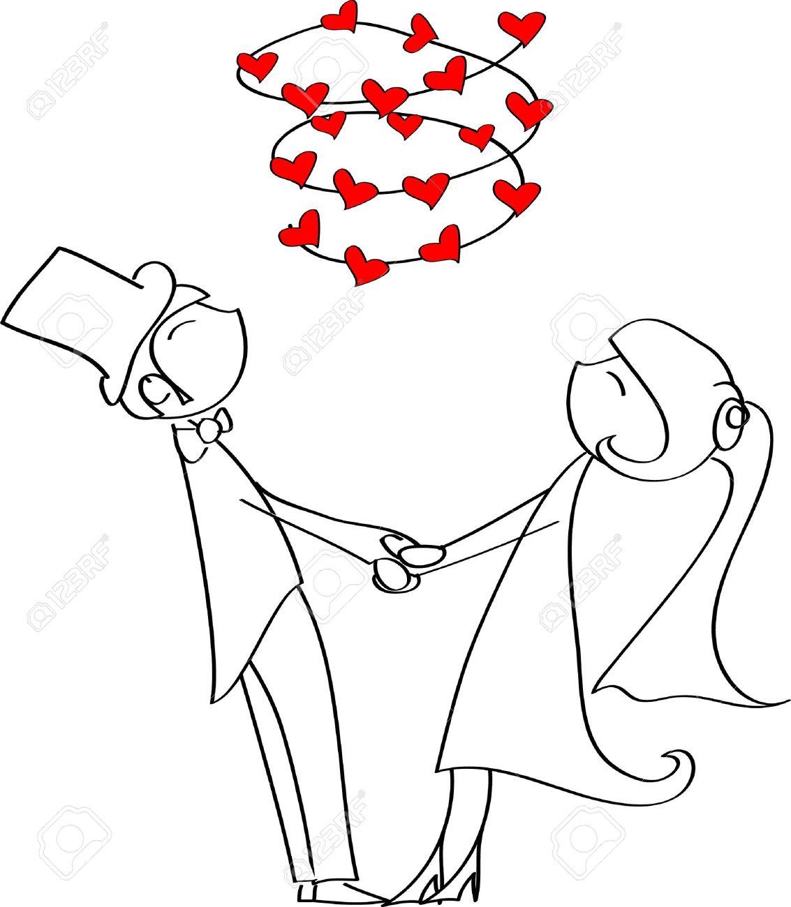 Bride Grabbing Groom Clipart