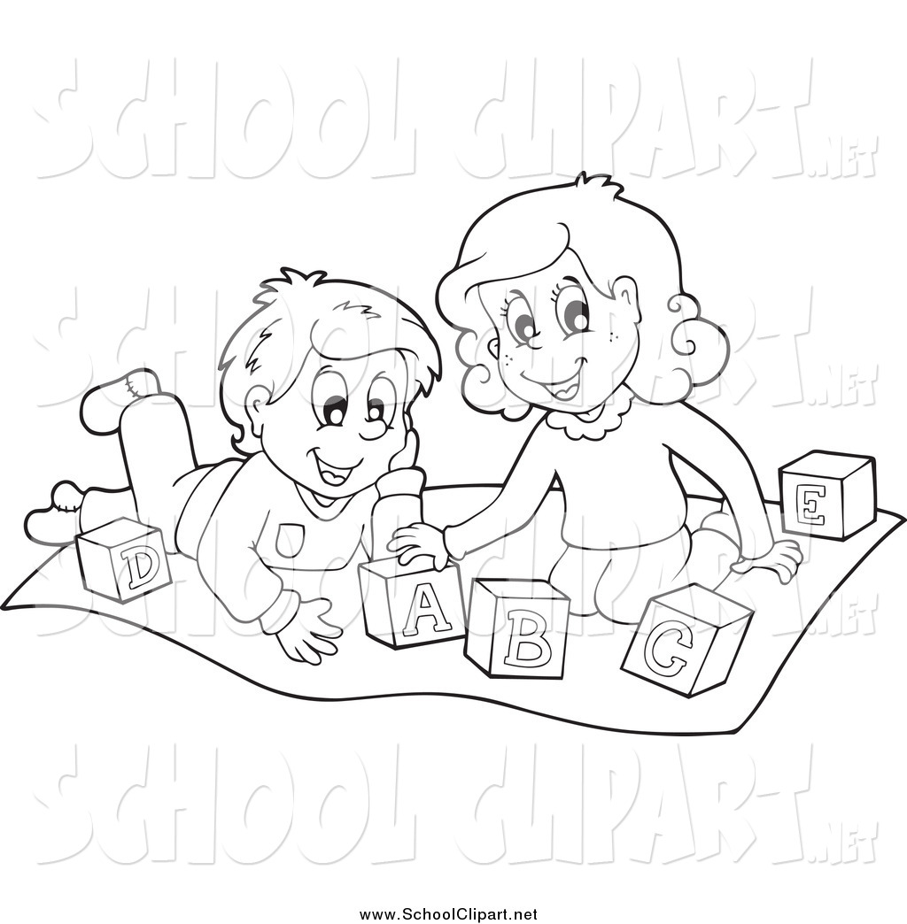 Children Playing In School Clipart Black And White