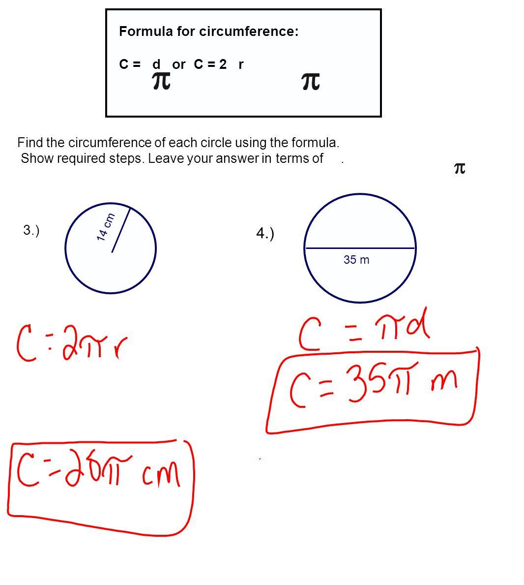 Circumference Of A Circle Formula