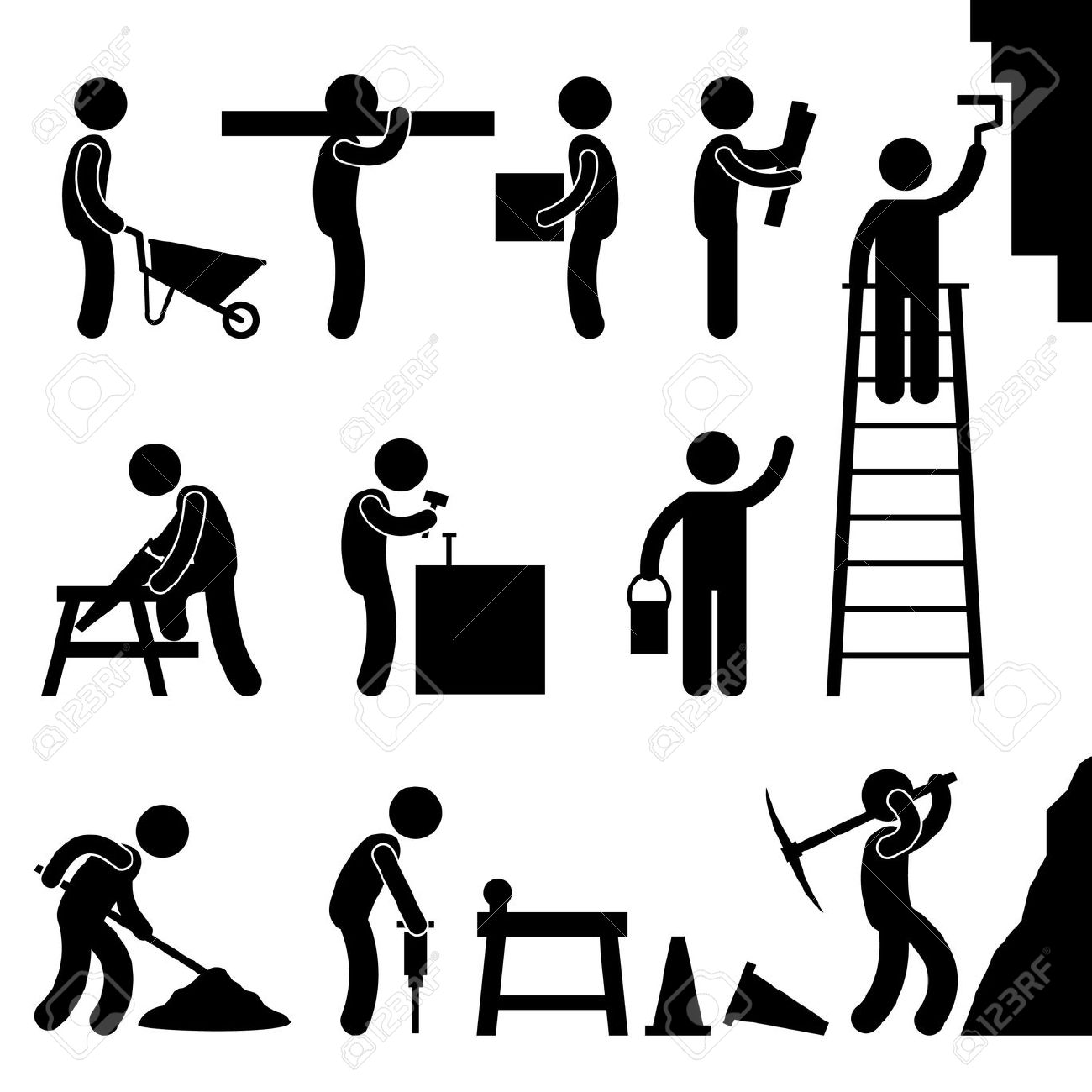 Clipart Black White House Construction Trade Silhoute 20