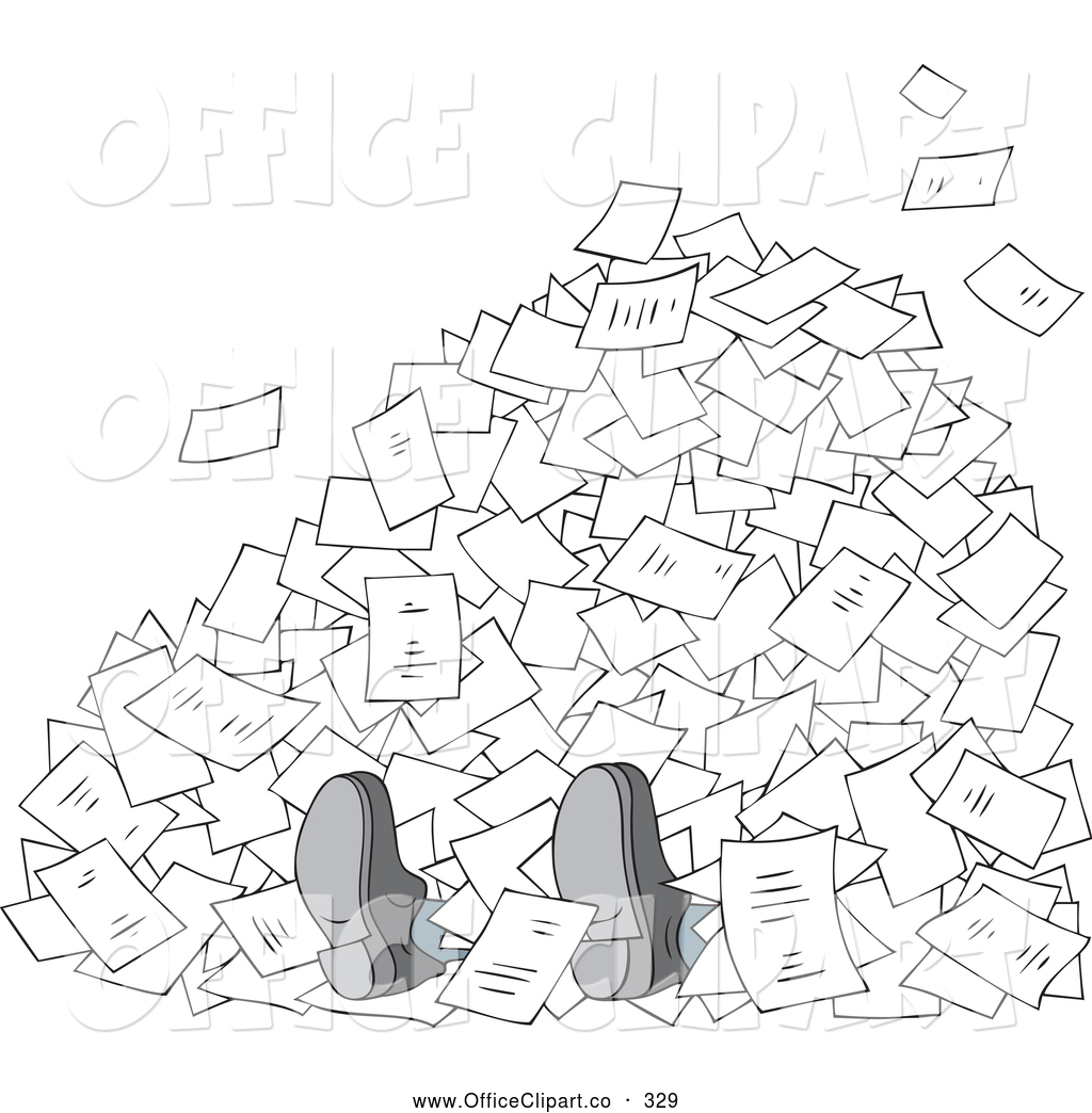 Clipart Buried In Paperwork
