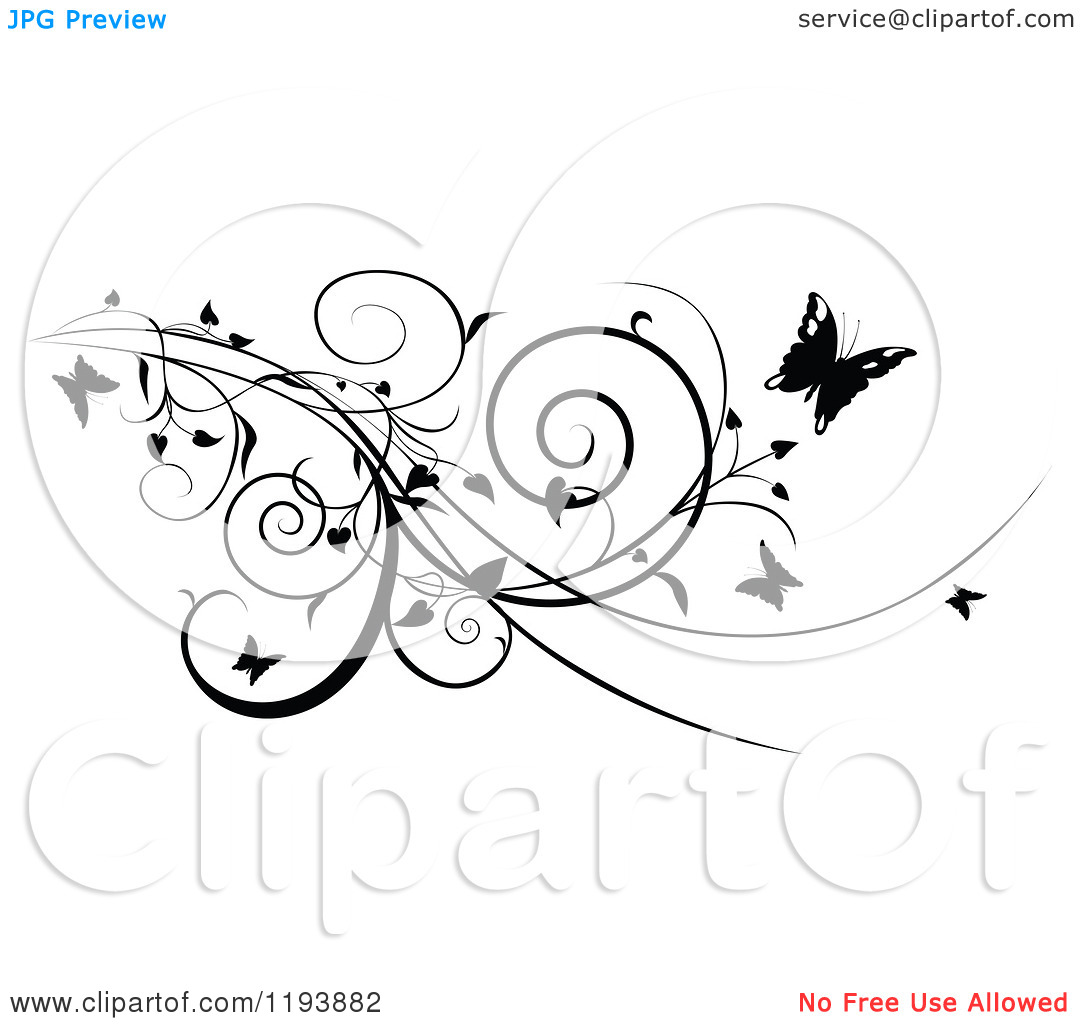 Clipart Butterfly Vines