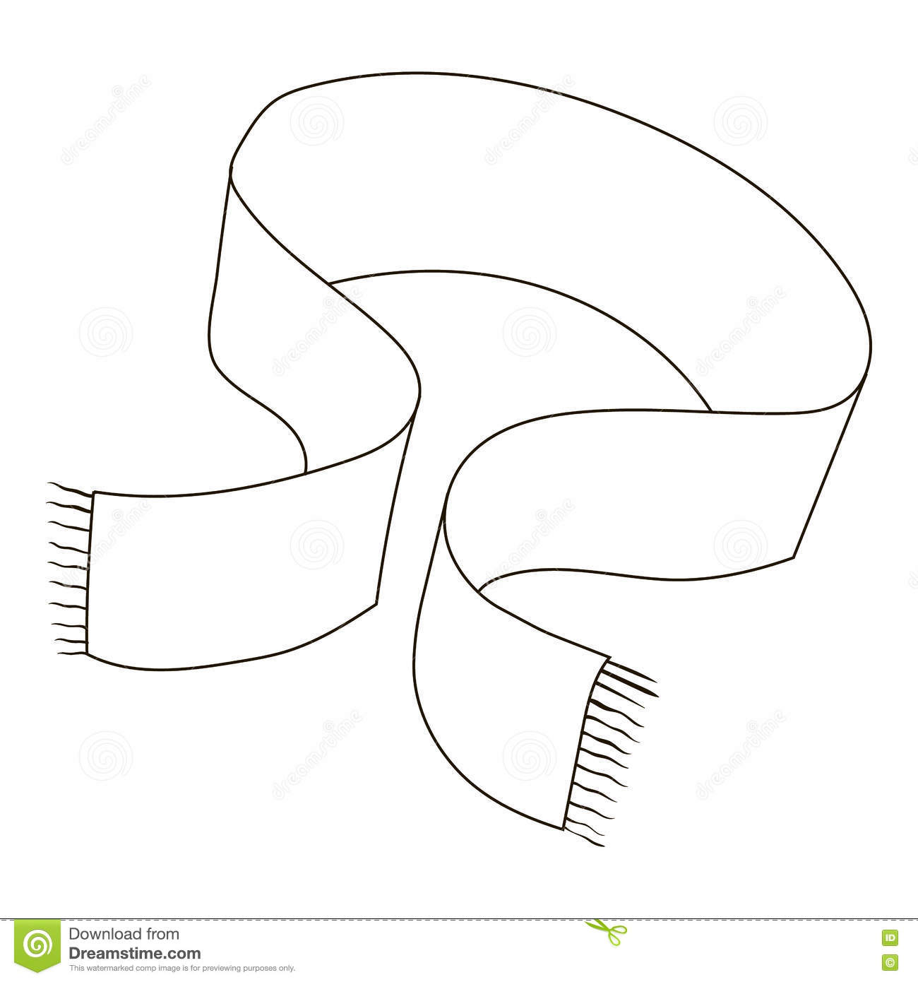 Clipart Winter Scarf Outline Black And White