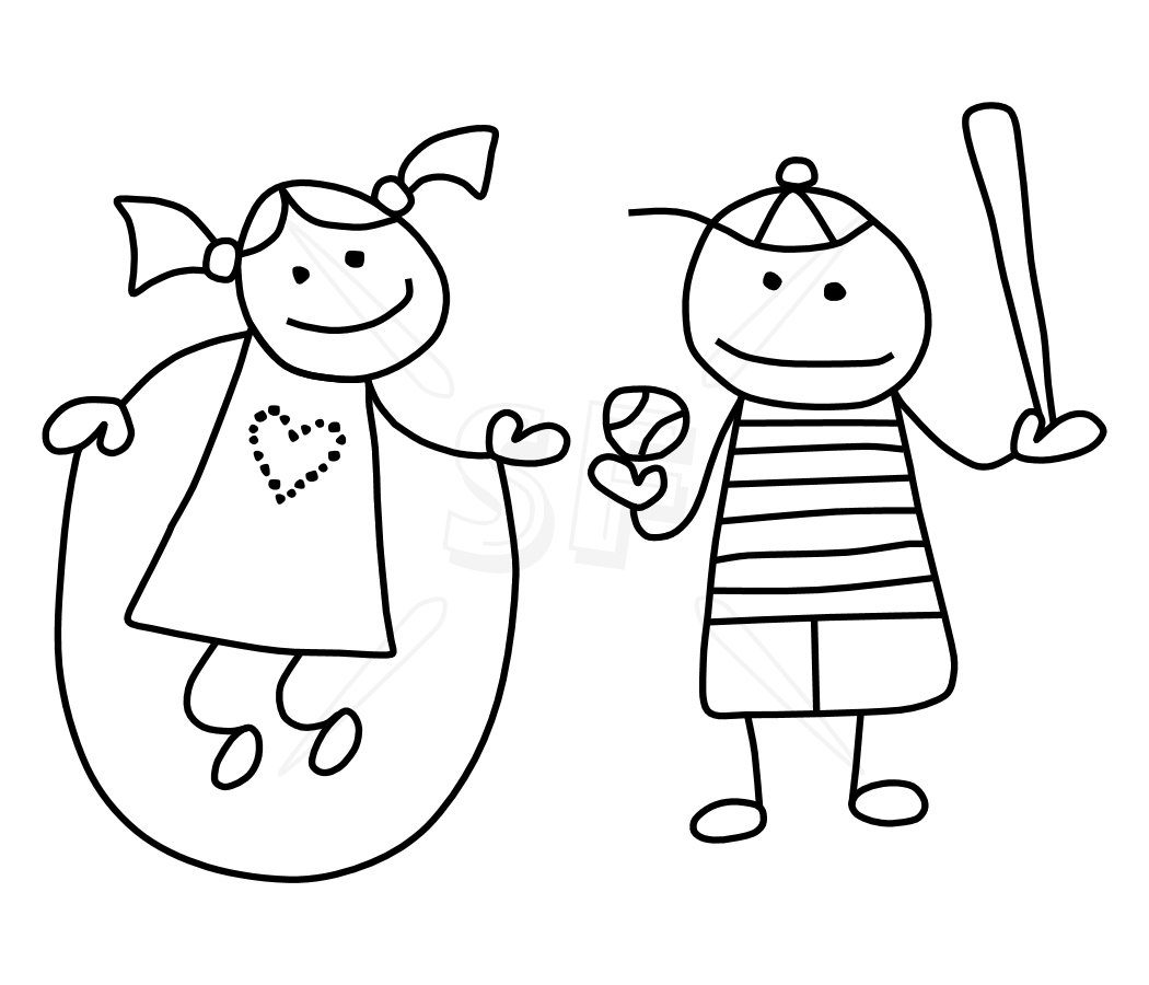 Stick People Clipart Black And White