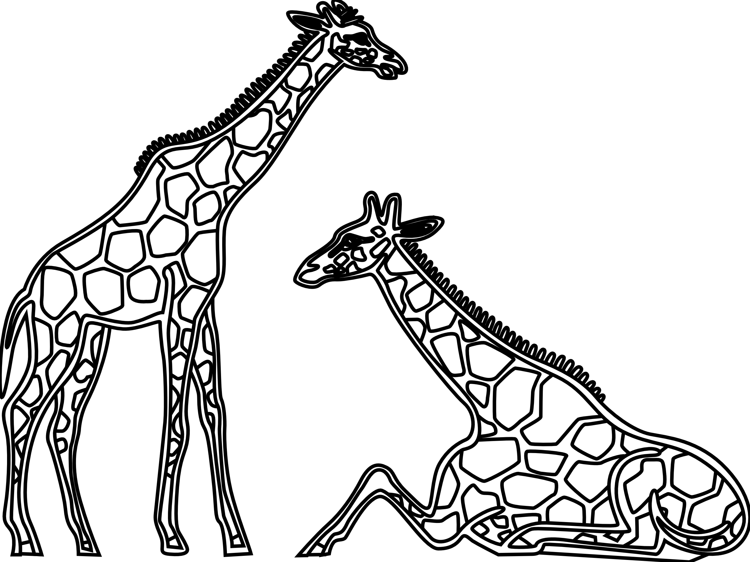 Cute Giraffe Clipart Black And White