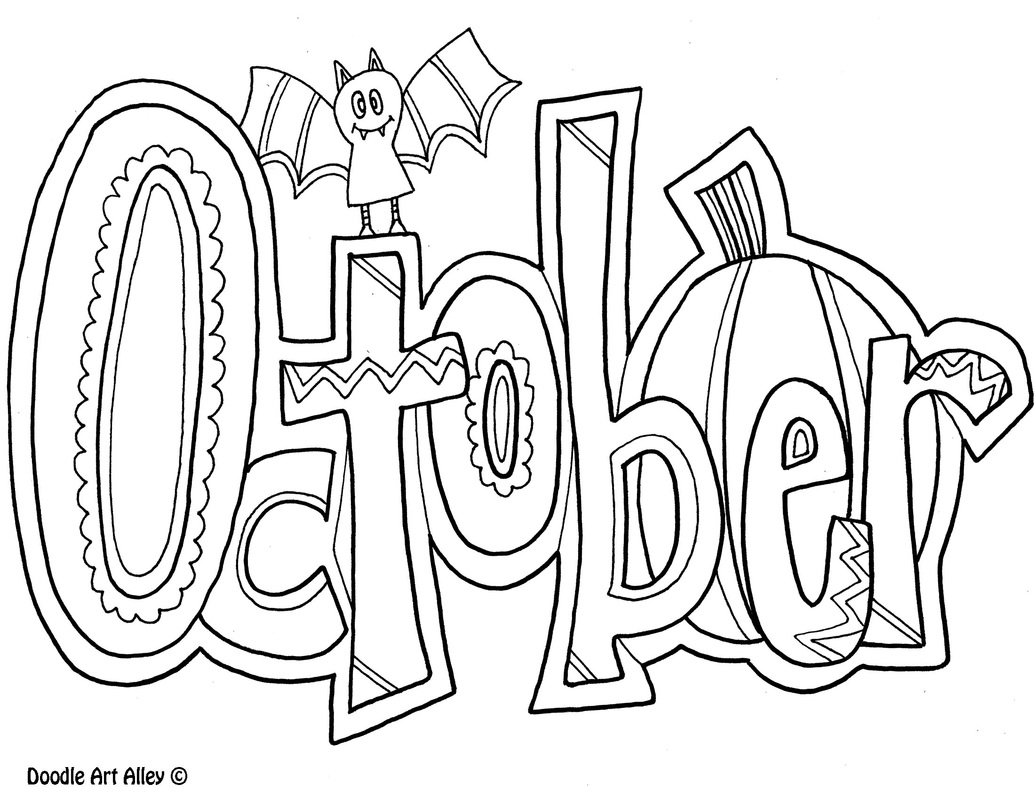 Cute October Clipart Coloring Page