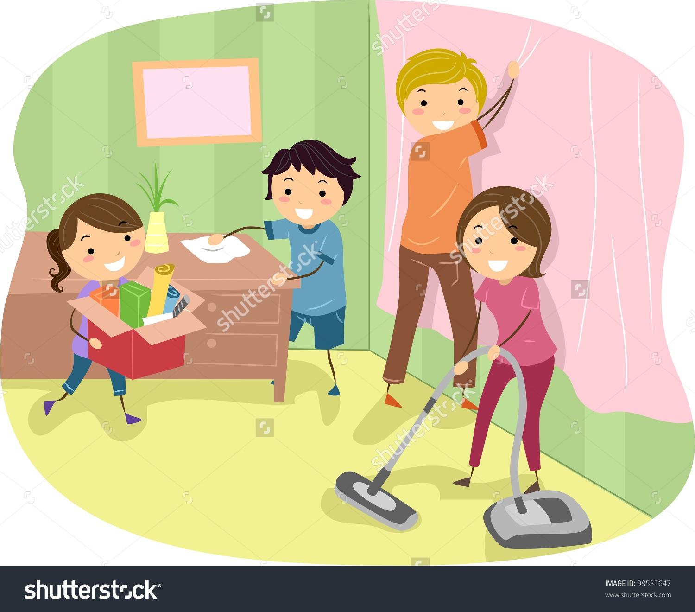 Family Doing Household Chores Clipart