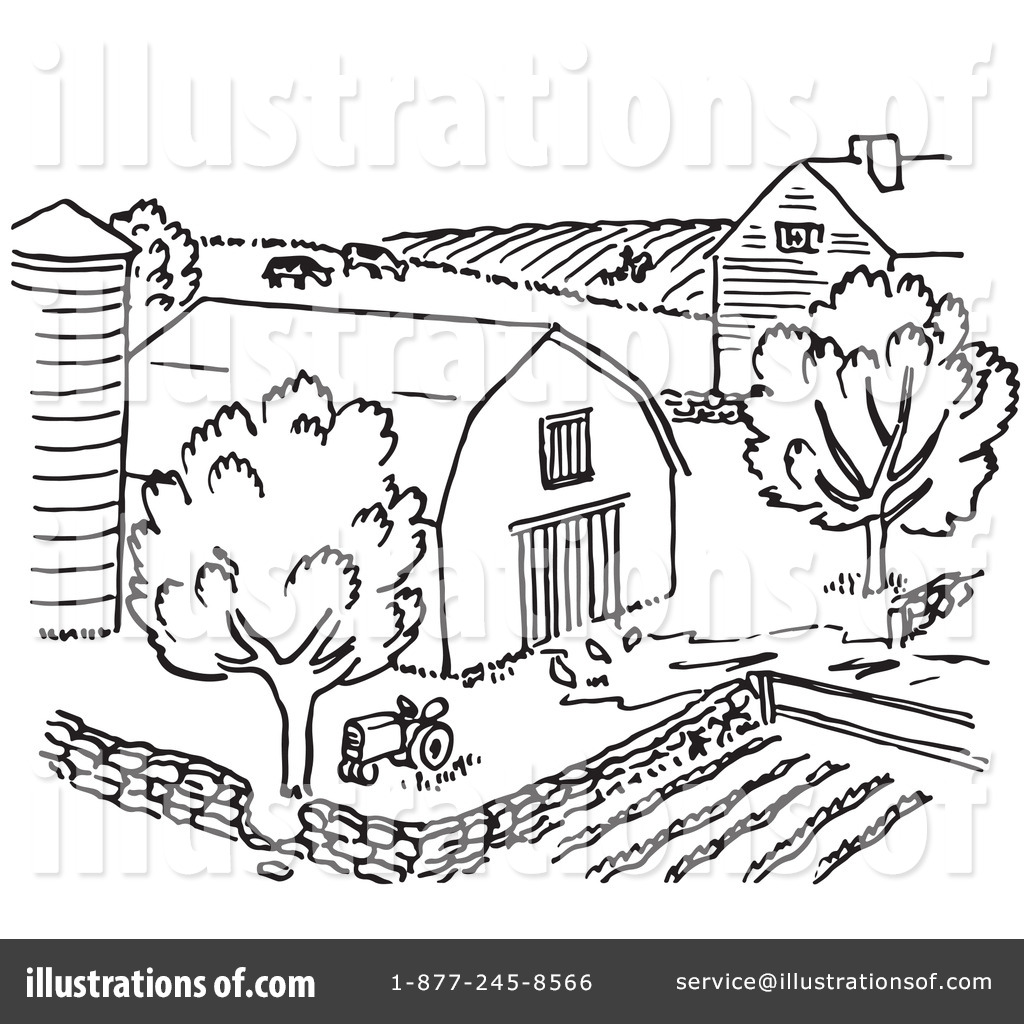 Farm Black And White Clipart