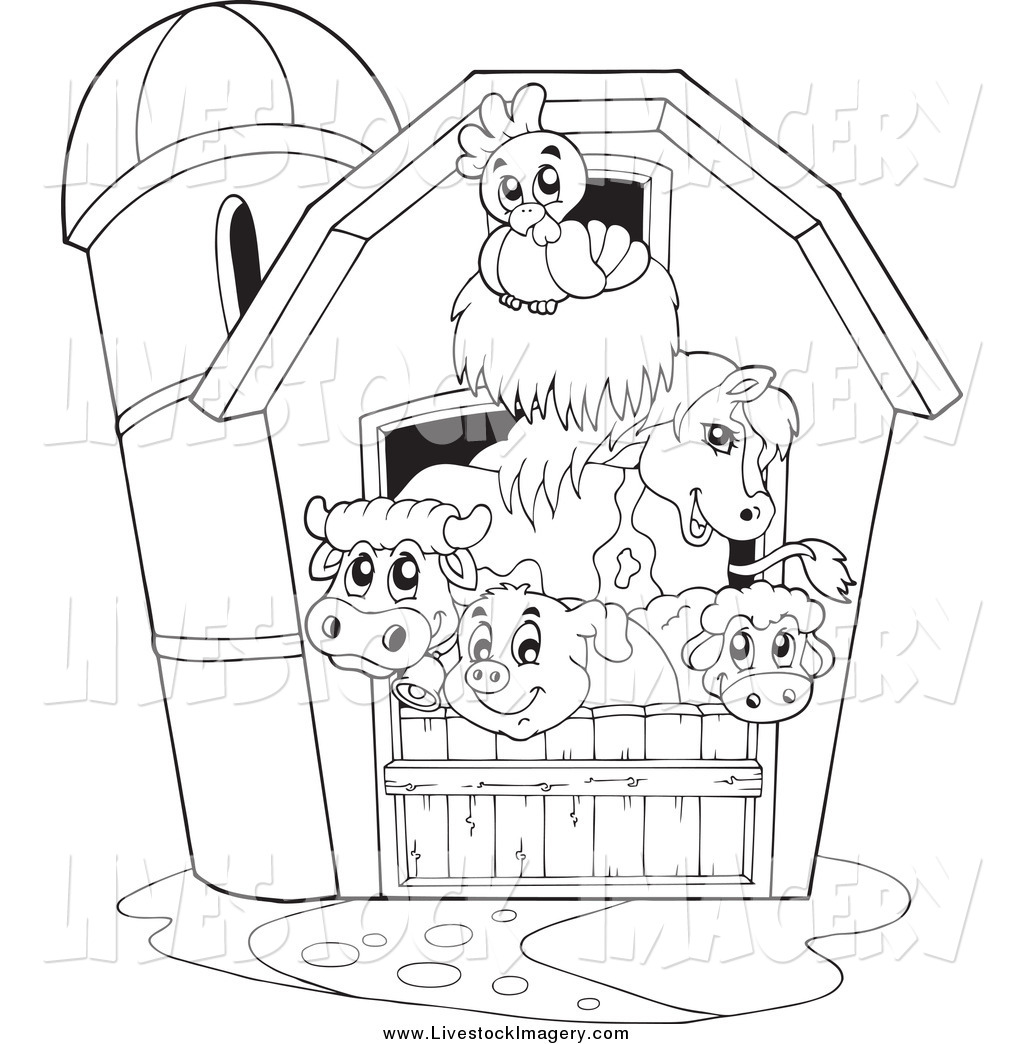 Farm House Cblack And White Clipart
