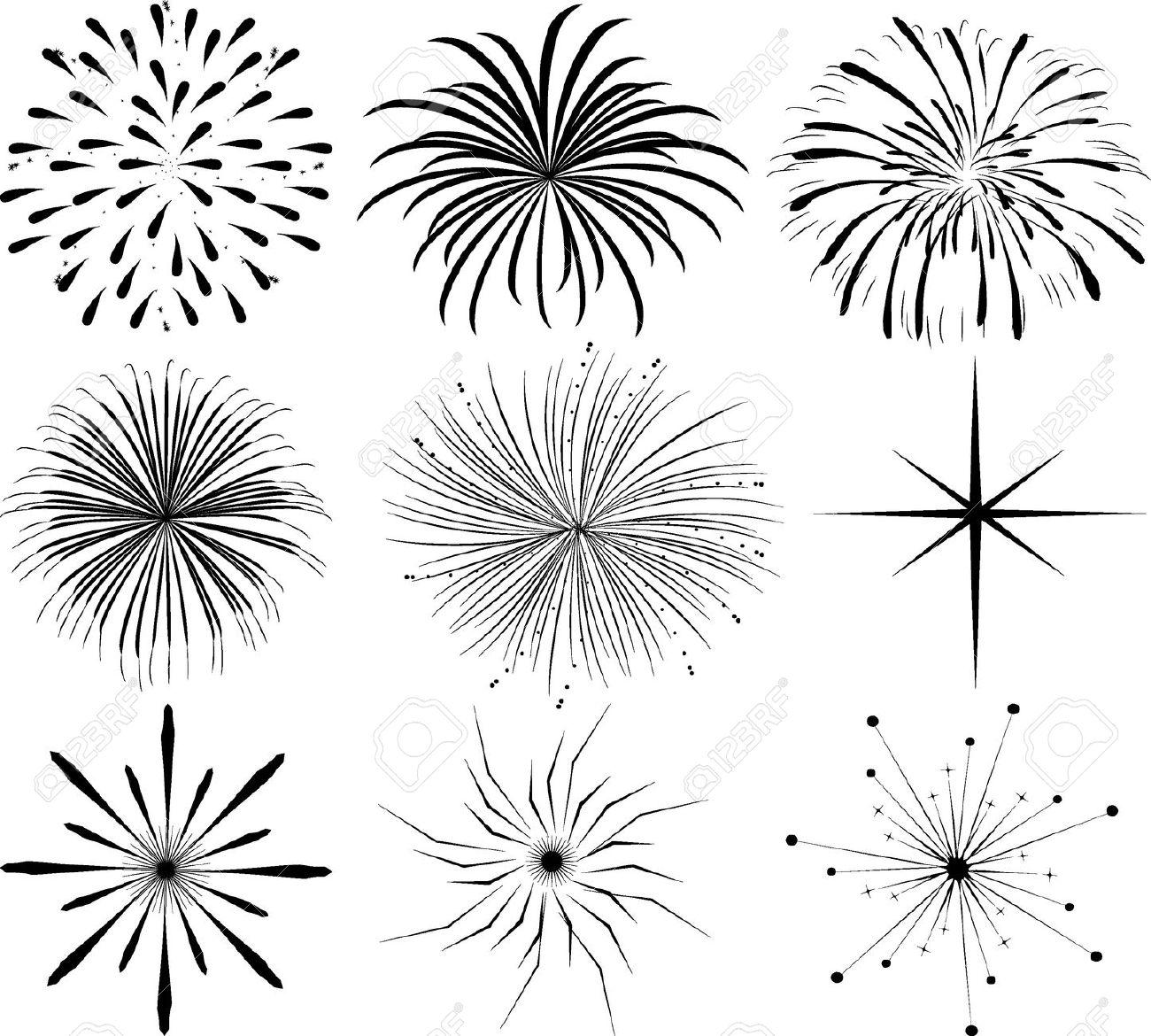 Fireworks Border Black And White Clipart