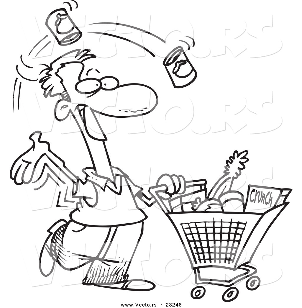 Food Shopping Clipart Black And White 20 Free Cliparts