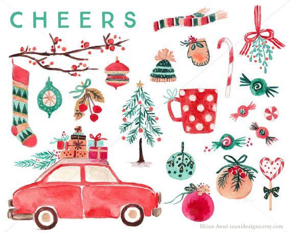 Retro Car Christmas Tree Clipart