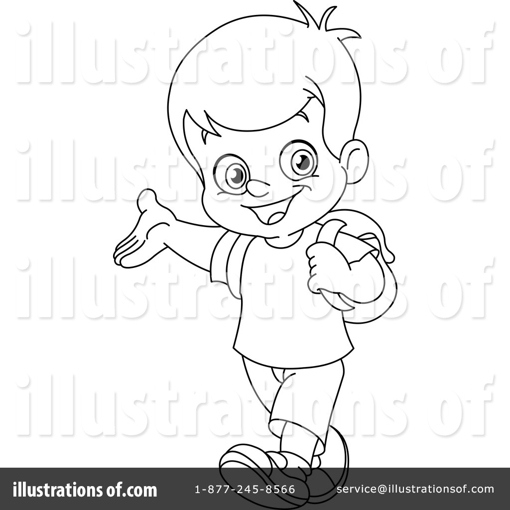 Free Black And White Boy Clipart