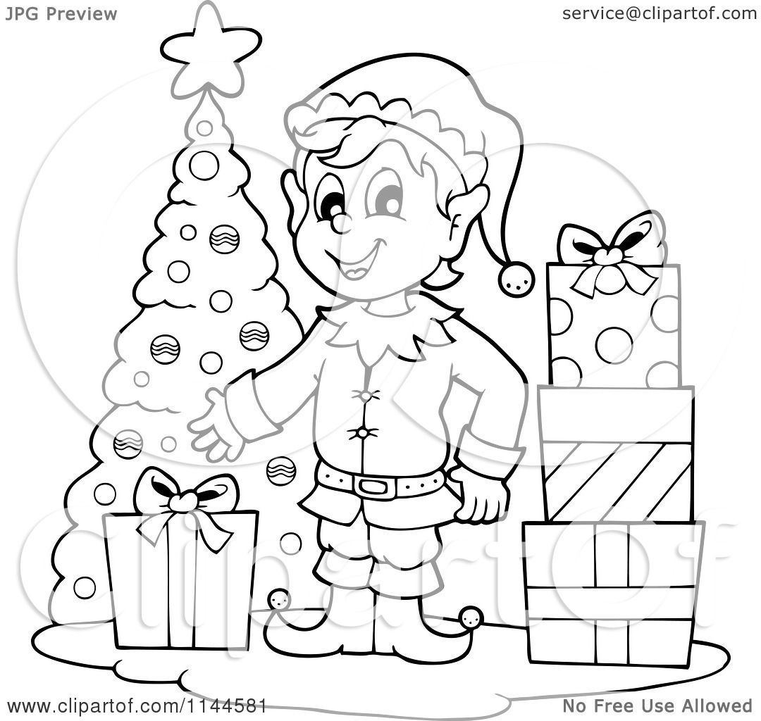 Free Black And White Christmas Elf Clipart 20 Free