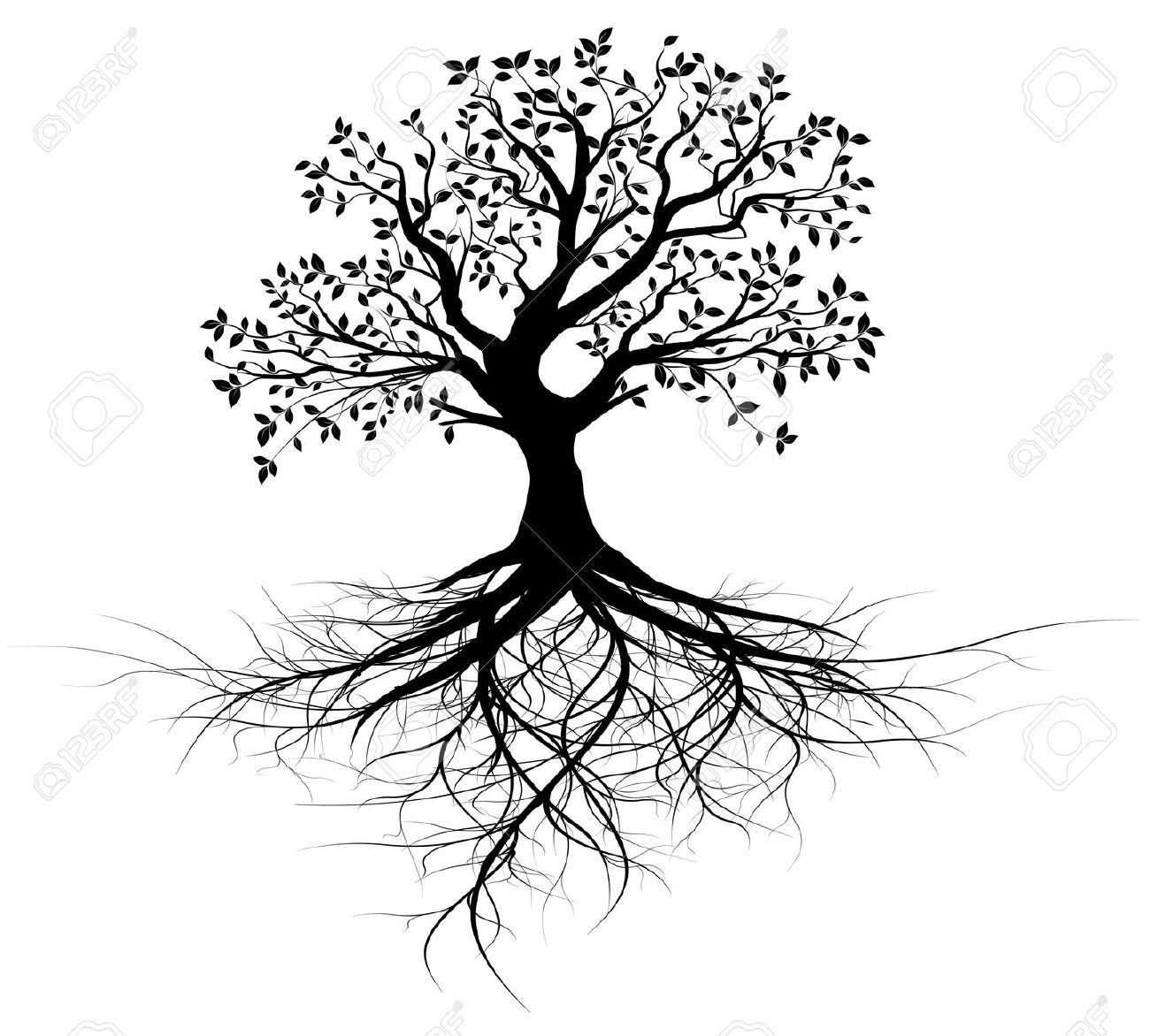 Free Black And White Clipart Tree With Roots