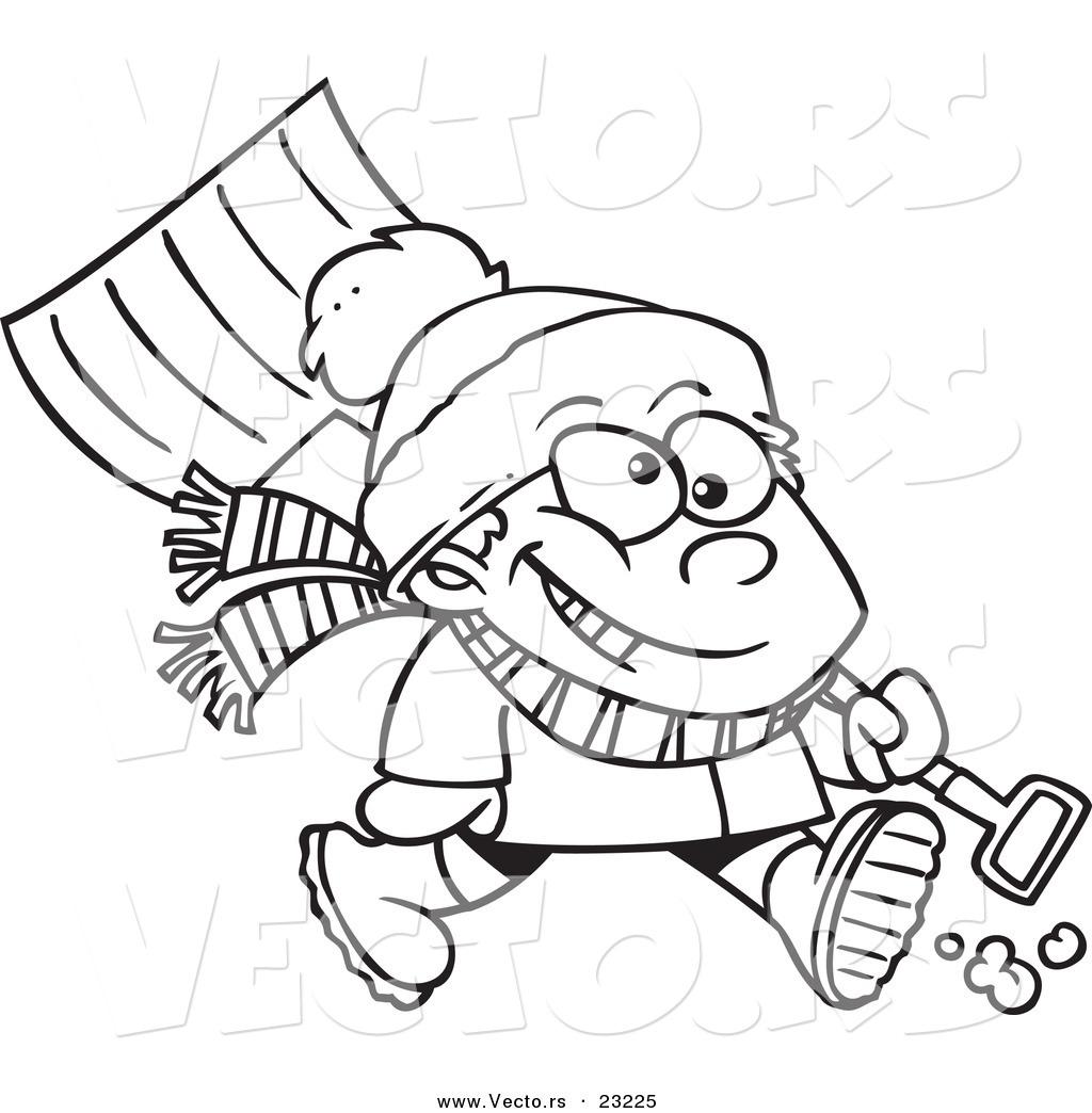 Free Clipart Cartoon Image Of Man Shoveling Snow