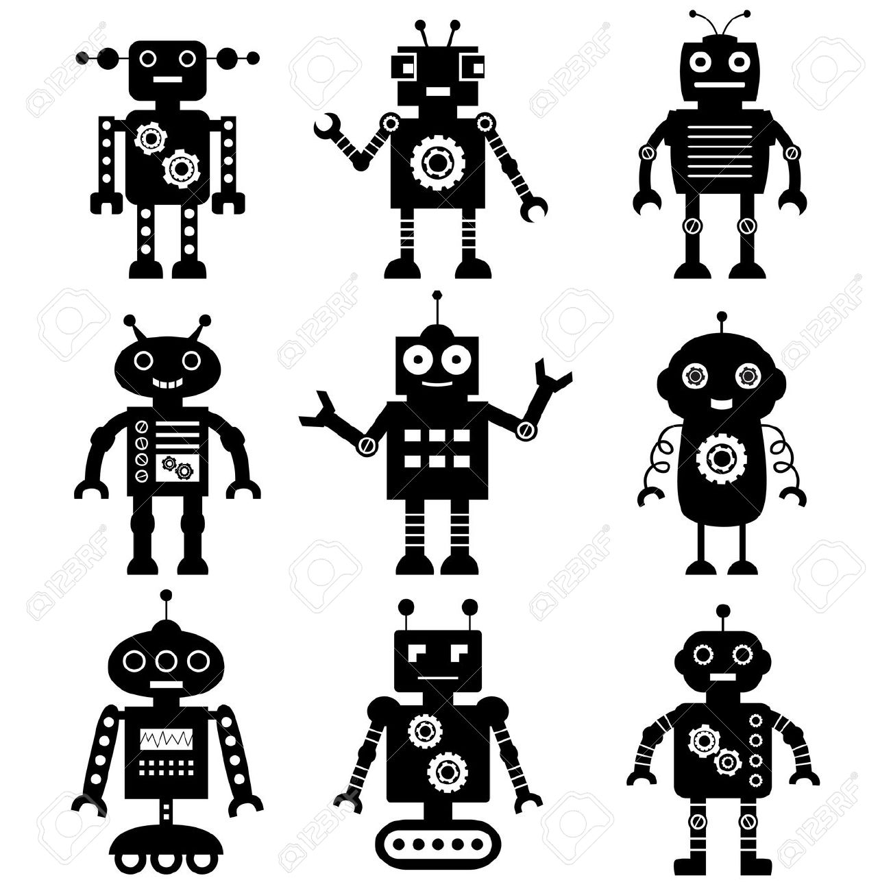 Free Robot Clipart Black And White 20 Free Cliparts