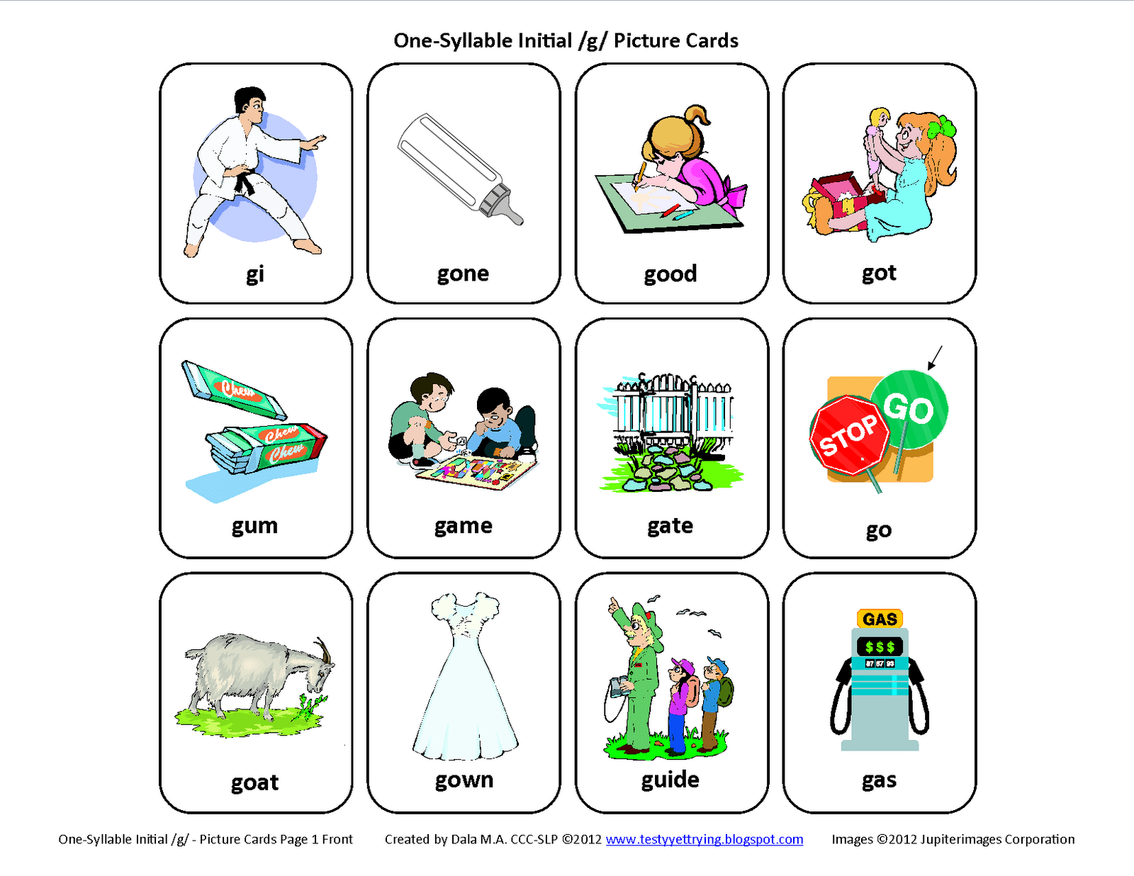 G Words Clipart