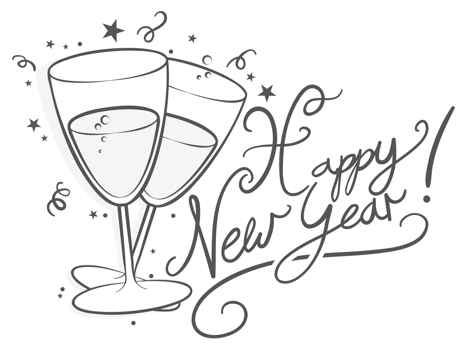 Happy New Year Clipart In Black And White