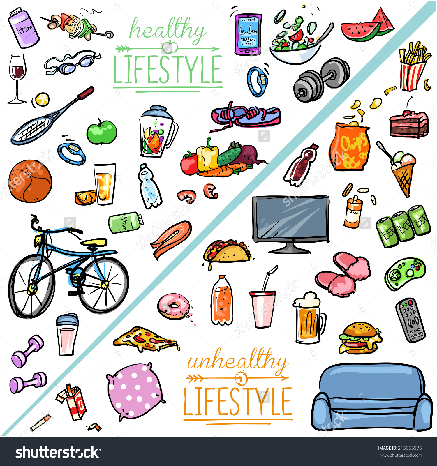 Healthy And Unhealthy Person Clipart