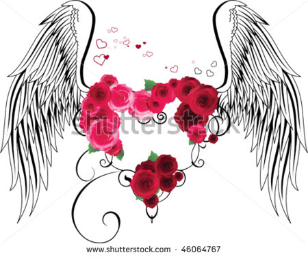 Hearts With Wings And Roses Clipart Clipground