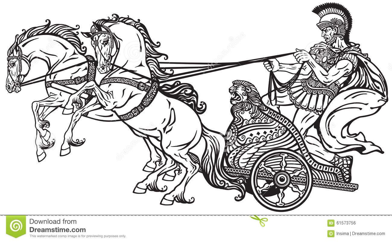 Horse Dran War Chariot Clipart