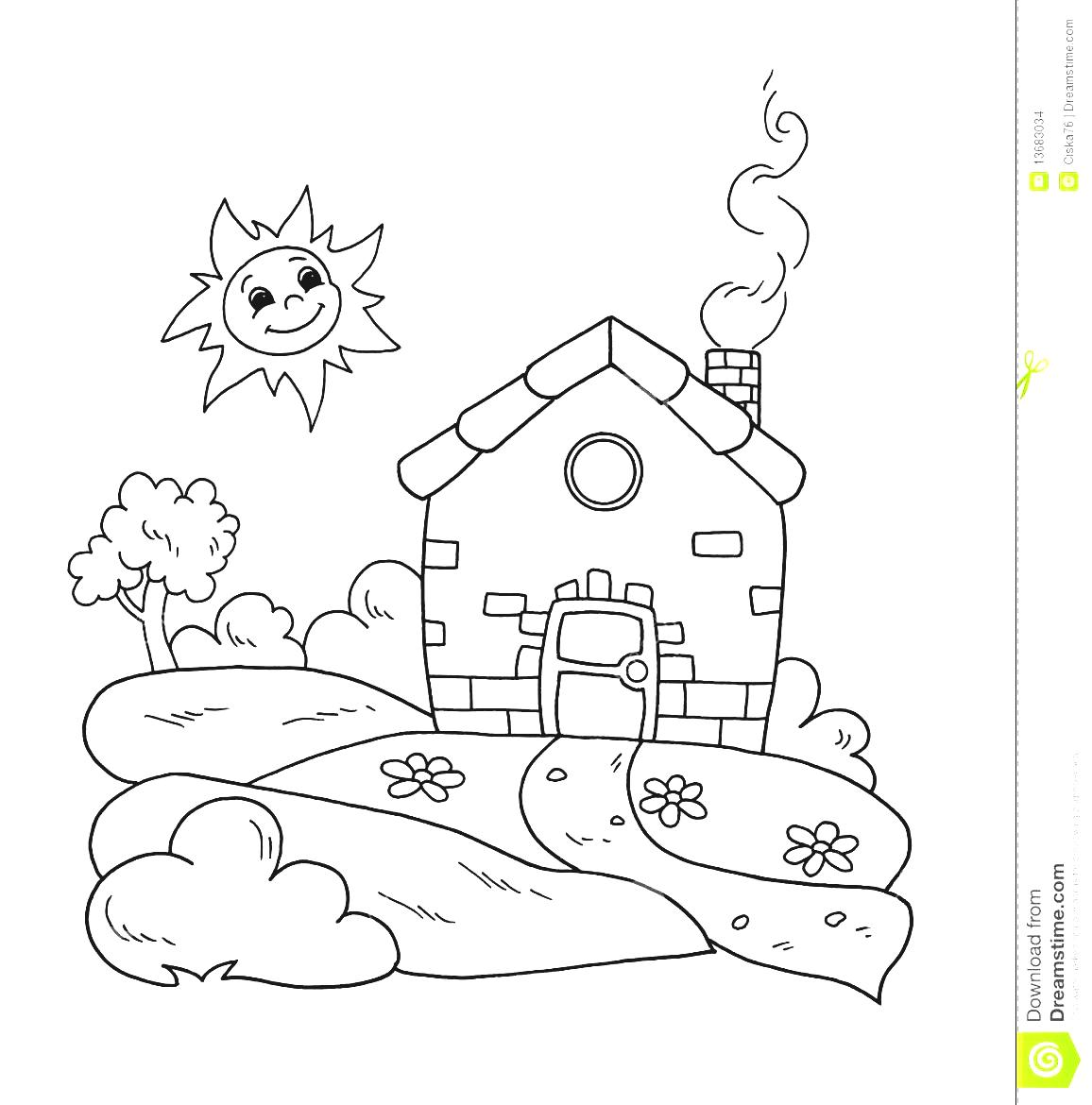 House With Garden Clipart Black And White