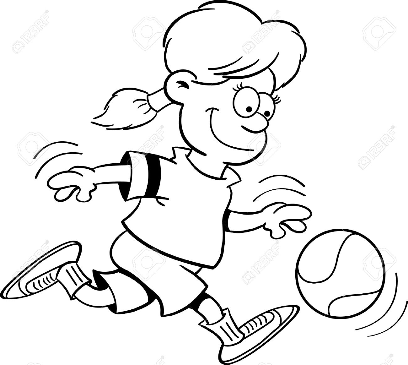 Kids Playing Basketball Black And White Clipart