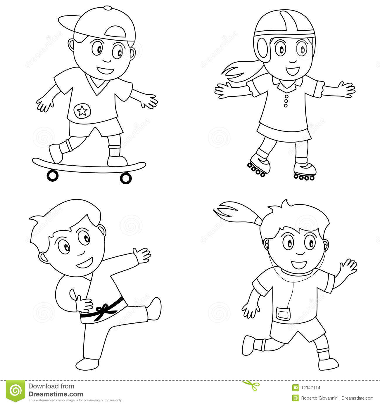 Kids Playing Sports Clipart Black And White