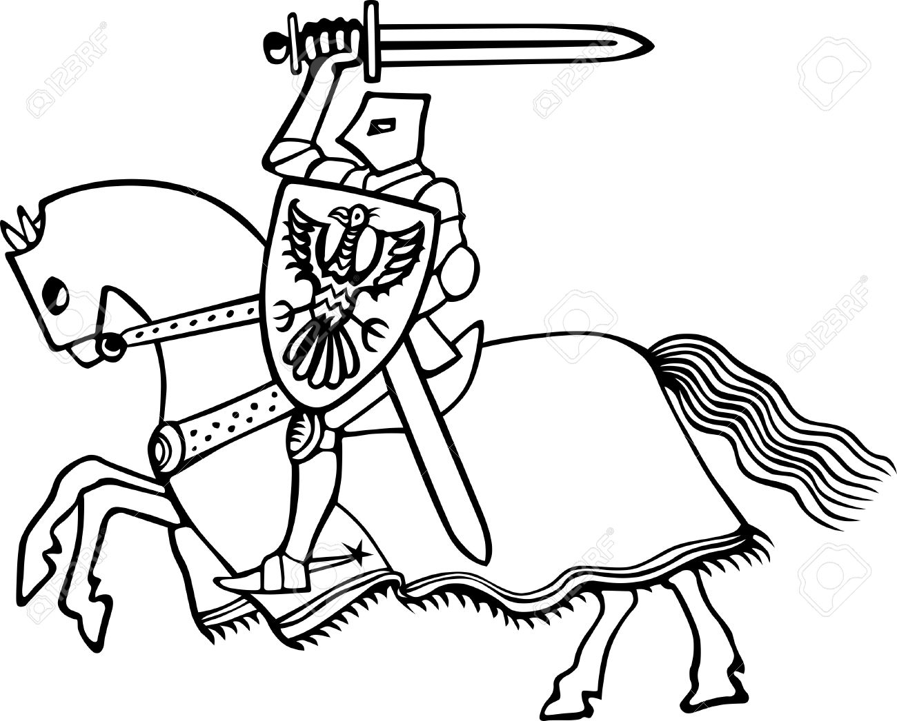 Knight On Horse Clipart Black And White
