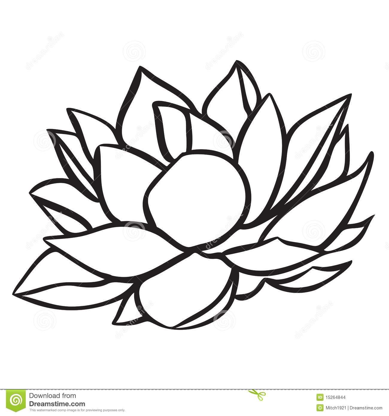 Lotus Flower Clipart Black White