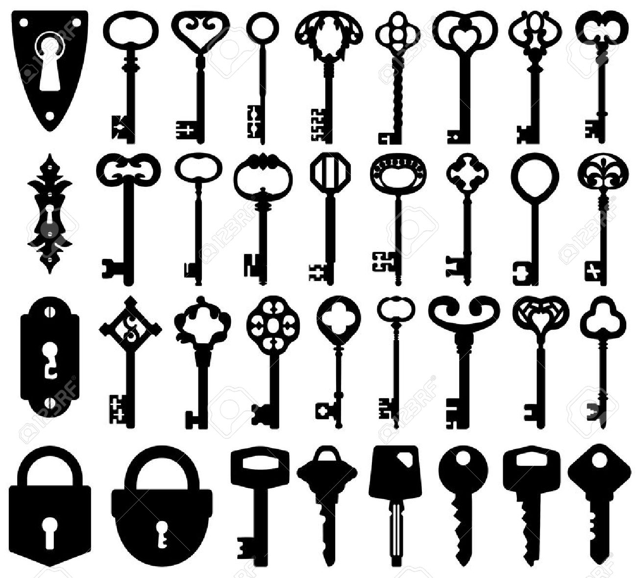 Old Key Outline Clipart