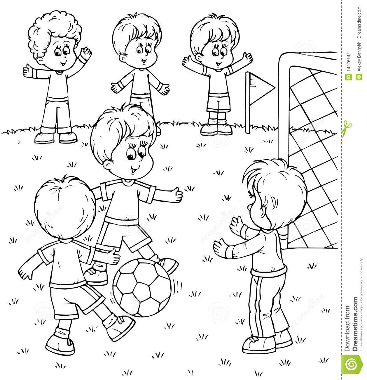 Soccer Kids Clipart Black And White