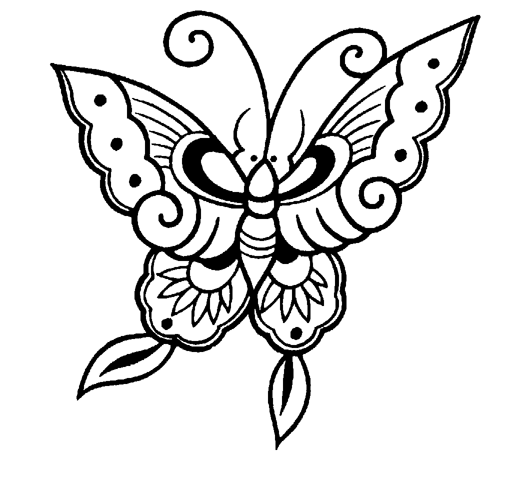 Pretty Butterfly Clipart Black And White
