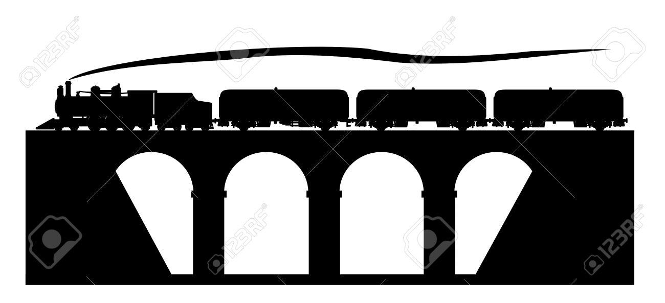 Train Bridge Clip Art Black And White