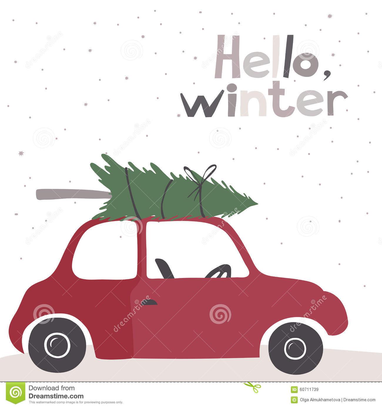 Retro Car Christmas Tree Clipart Clipground