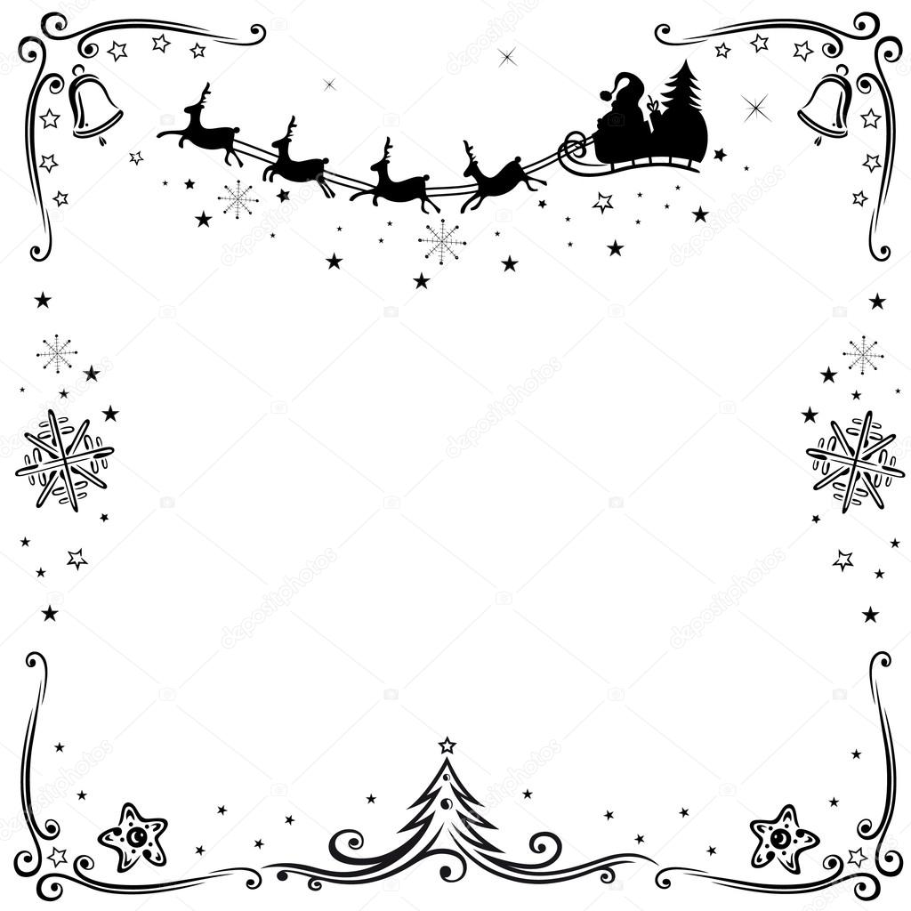 Santa Claus Frame Clipart Black And White 20 Free Cliparts
