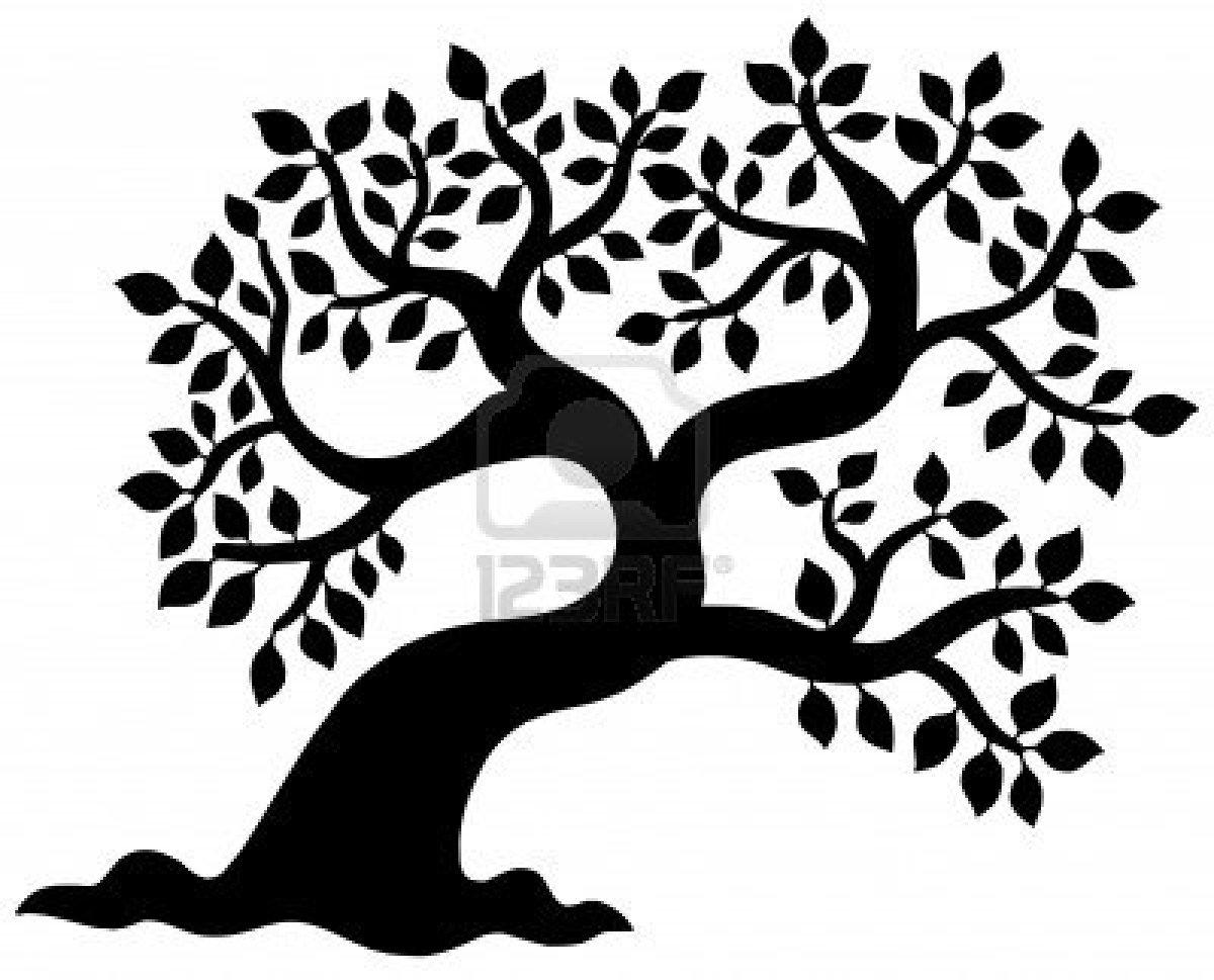 Side Tree Black Clipart